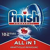 Finish All in 1 Spülmaschinentabs, phosphatfrei – Geschirrspültabs mit kraftvollem Powerball gegen hartnäckigste Fettanschmutzungen – Für 3 Monate – Gigapack mit 182 Finish Tabs