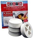 M&H-24 Waschmaschinen Unterlage Schwingungsdämpfer Vibrationsdämpfer Antivibrationsmatte - Gummi Füße für Waschmaschine & Trockner Waschmaschinenzubehör Weiß 4 Stück